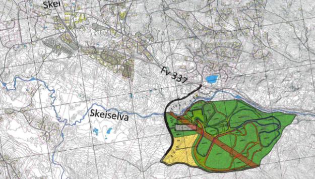 Kart over hvordan arenaen vil ligge i forhold til Skei sentrum.
