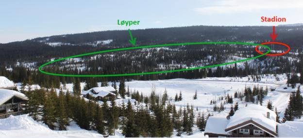 Skeikampen Skiarena vil ligge sør for Skeiselva ved Helgafossen vis a vis avkjøring til Sør Skei, og øst for Lonan.